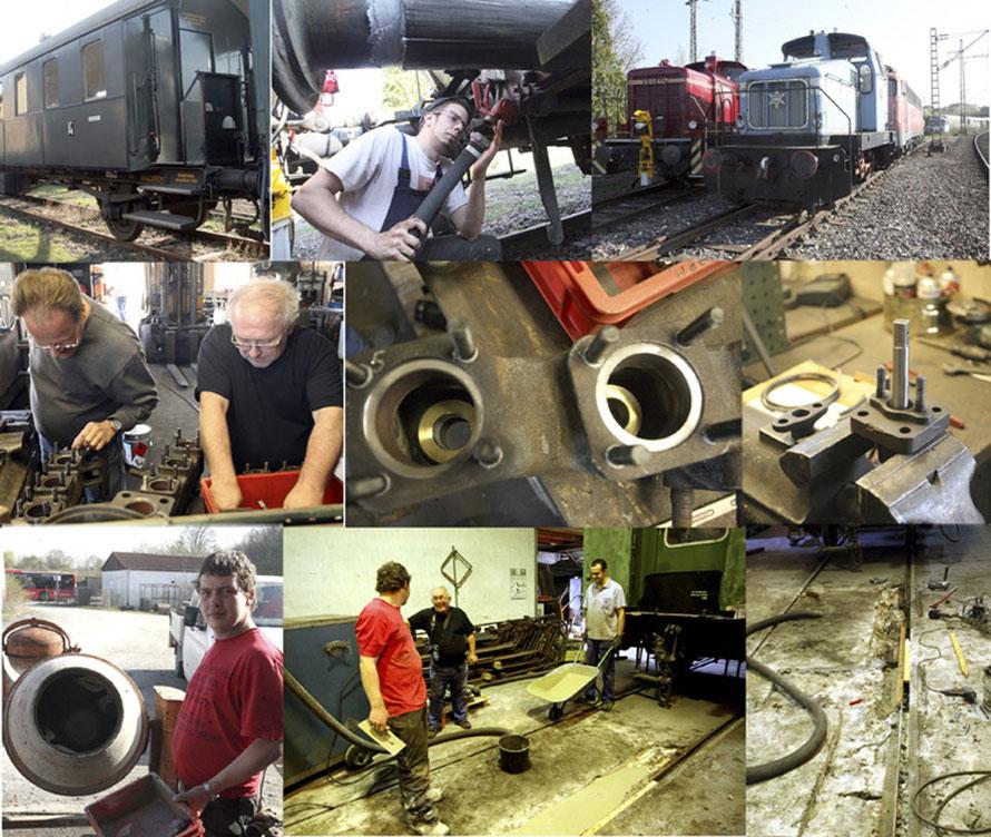Oben Bilder vom Mitteleinstiegswagen, In der Mitte die frisch ausgebuchsten Gruppenventile der 44 1378 und unten Tiefbau in der Lokhalle. Dabei wurden Schäden im Boden ausgebessert.