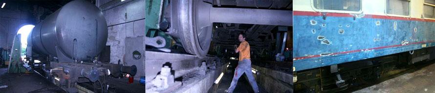 Am Kesselwagen rückt das Aus-Achsen näher, an dem Steuerwagen werden die Roststellen geschiffen und später gespachtelt.