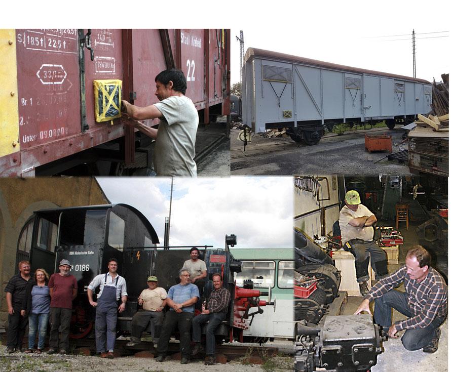 Oben: Abkleben am Güterwagen, der nun bereits grundiert ist. Unten links: Gruppenbild mit den Mitarbeitern vom Bahnpostmuseum zum Feierabend und rechts der Gussbehälter der Speisepumpe wird unter die Lumpe genommen.