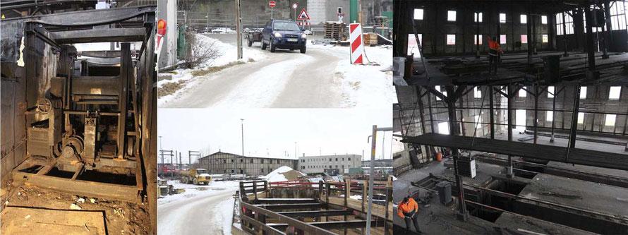 Das Bild links zeigt die Achssenke von der Grube aus. In der Mitte die Bilder Zufahrt und vom Schuppen, der mittlerweile abgerissen ist.  Rechts noch Bilder aus der Halle - unten vom Platz aus, von dem die Stromabnehmer kontrolliert wurden.