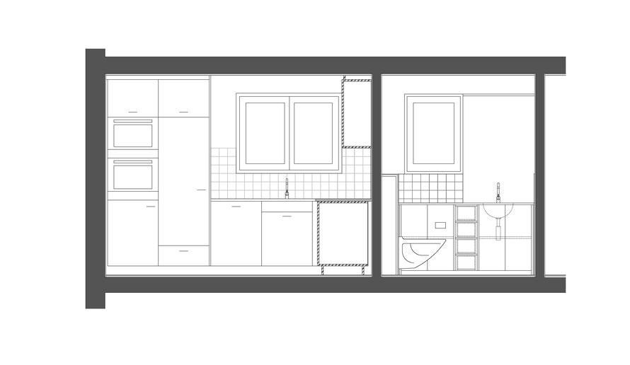 Ansicht/Schnitt Küche und Bad