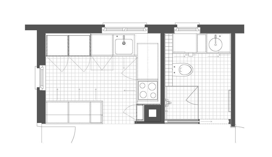 Grundriss Küche und Bad