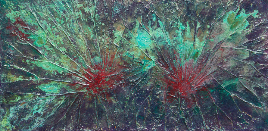 """Lotus"", Mixed Media auf Leinwand, 50x100 cm"