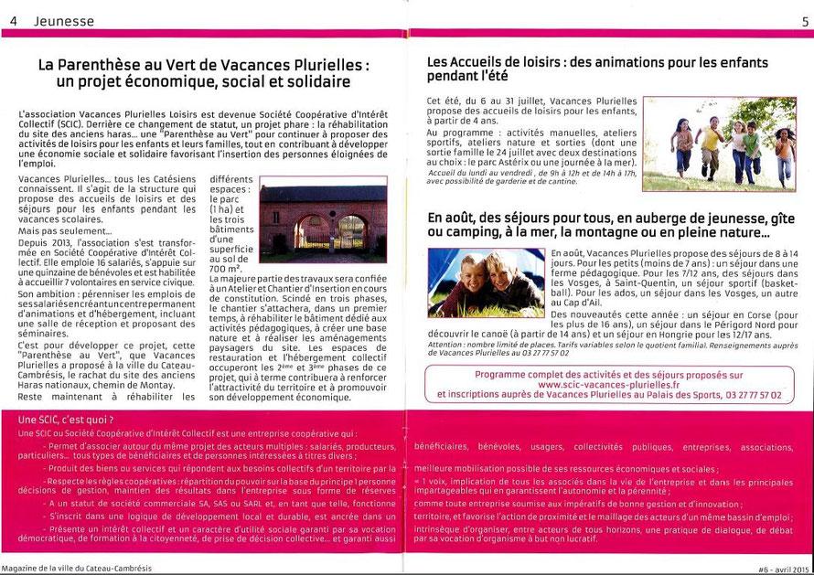 Double page dans le magazine de la ville Du Cateau-Cambrésis