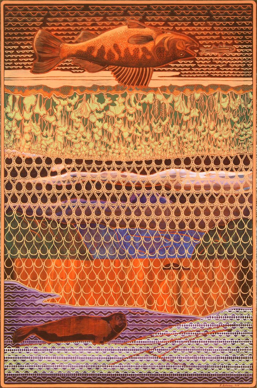 Descend la rivière, monte l'eau de mer. Acrylique et crayon sur toile, 91 cm x 61 cm.   Copyright Johanne Bilodeau