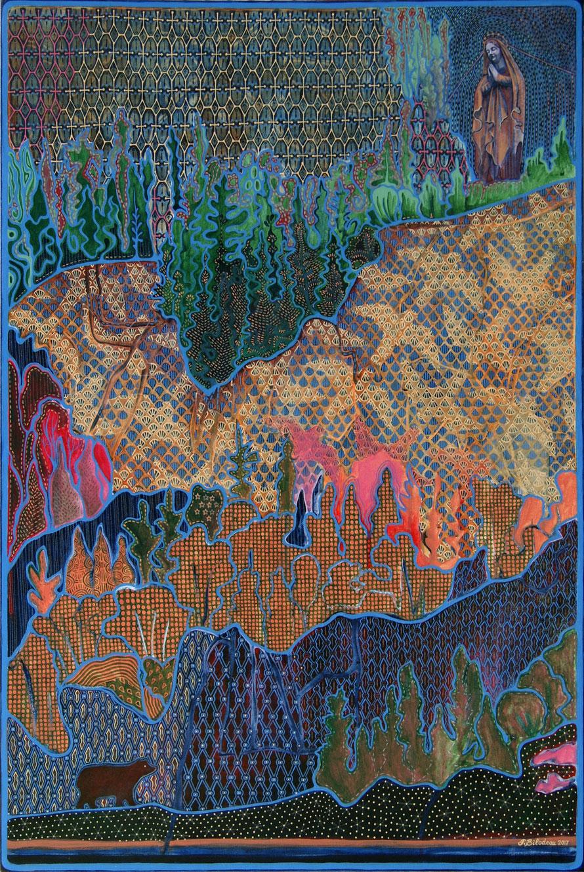 Cap Trinité. Acrylique et crayon sur toile, 91 cm x 61 cm, 2017.  Copyright Johanne Bilodeau