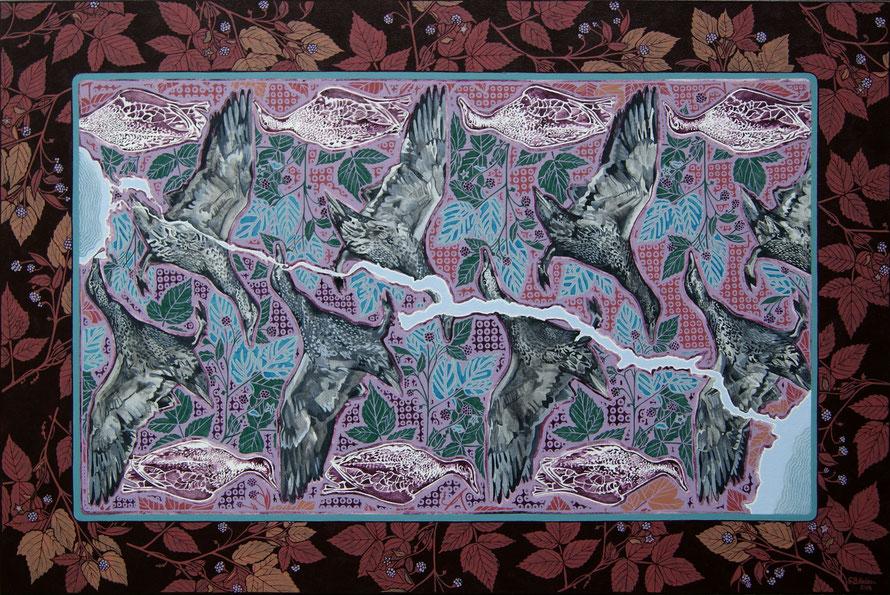 Carte hydrographique de la rivière Saguenay. Acrylique sur toile, 61 cm x 91 cm, 2018.  Copyright Johanne Bilodeau  ---- DISPONIBLE