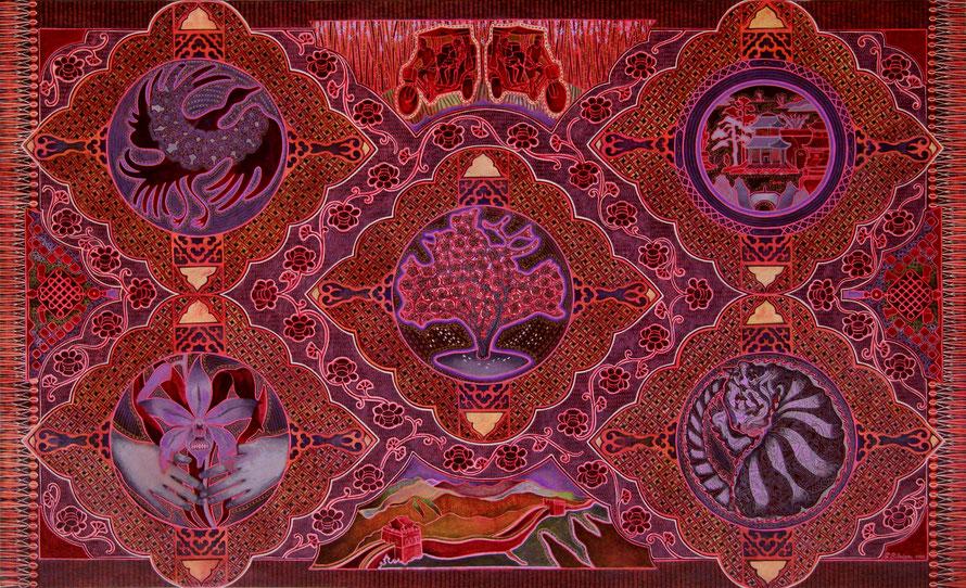 Espaces du chez-soi. Acrylique sur toile. 76 cm x 122 cm, 2020.     Copyright JOHANNE BILODEAU                   ---VENDU