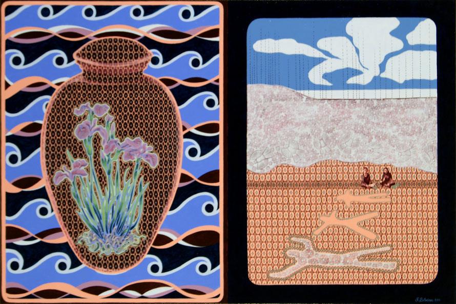 L'urne aux iris. Acrylique et crayon sur toile, 61 cm x 91 cm, 2018.  Copyright Johanne Bilodeau ---- DISPONIBLE