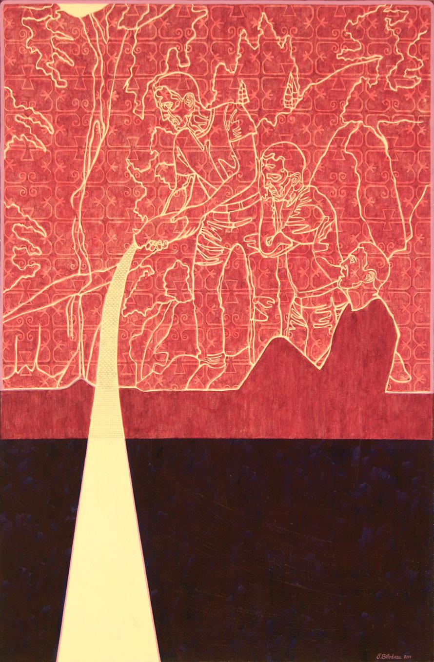 Les frères. Acrylique et crayon sur toile, 91 cm x 61 cm, 2017.  Copyright Johanne Bilodeau   -----  DISPONIBLE