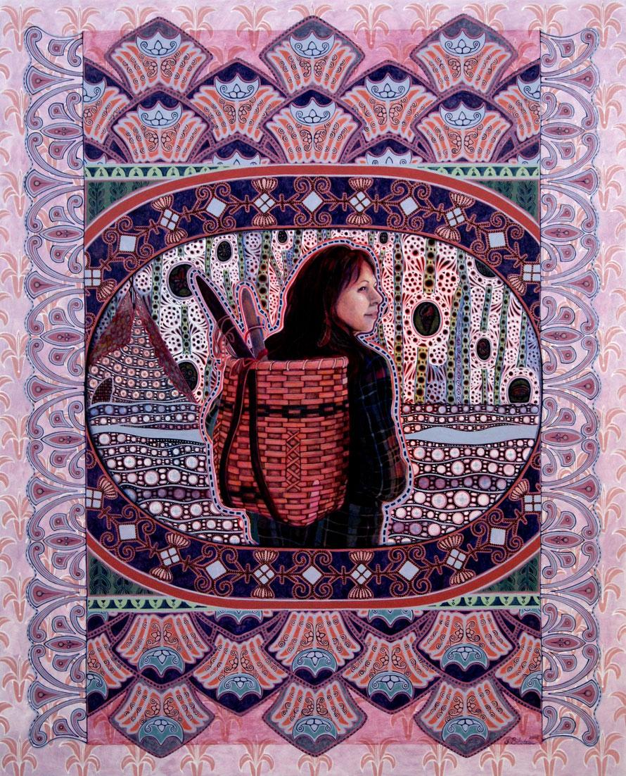 L'amie Rose. Acrylique sur bois. 76 cm x 61 cm. 2019.   Copyright Johanne Bilodeau.   -- Collection Lo's Meuse, Nouvelle-Écosse