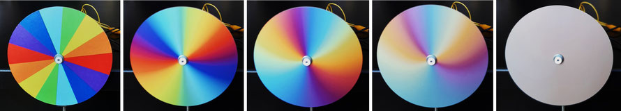 Disque de Newton à l'arrêt et en rotation (différentes vitesses de rotation).