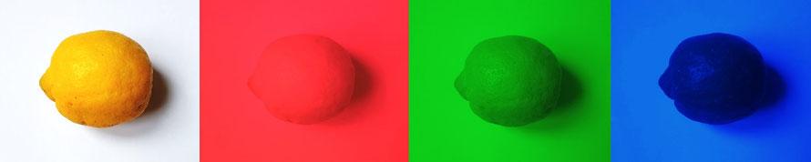 Citron vu à travers des filtres colorés rouge, vert et bleu