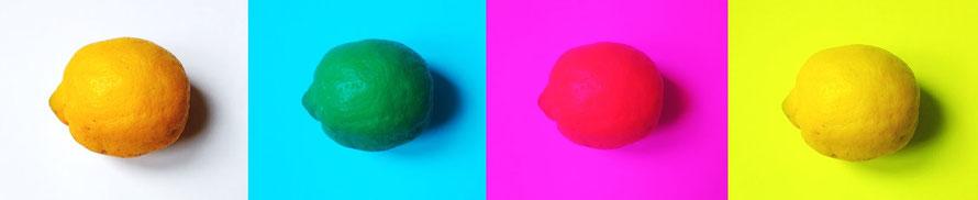 Citron vu à travers des filtres colorés cyan, magenta et jaune