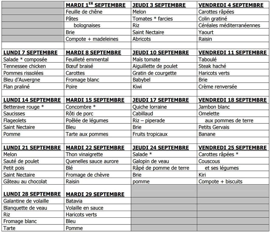 Menus de la cantine Septembre 2015 - Ecole de Sorbier (03220)