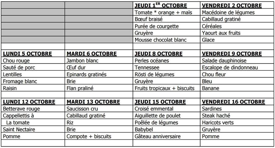 Menus de la cantine Octobre 2015 - Ecole de Sorbier (03220)