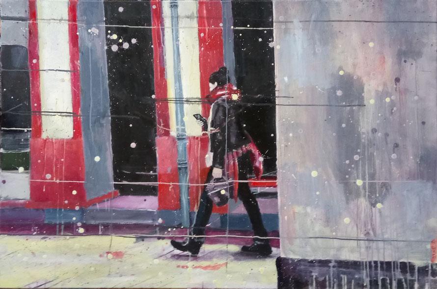 "Anja Kühnrich-Wilke, ""V"" aus ""Versunken entlang"", 2016,  Öl auf Leinwand, 80 x 120 cm /  Mittweida-Auftragsarbeit 2015-2016"