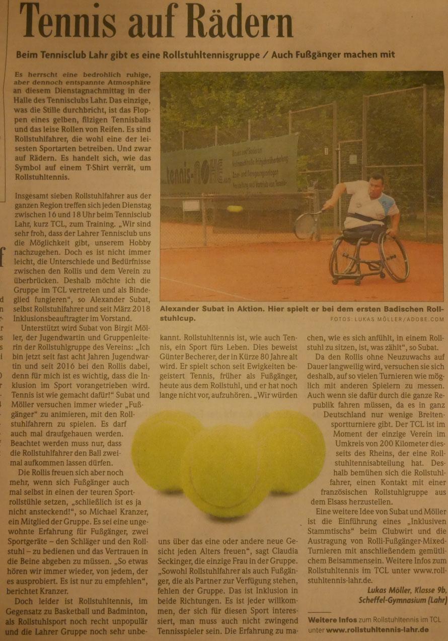 Badische Zeitung Rollstuhltennis