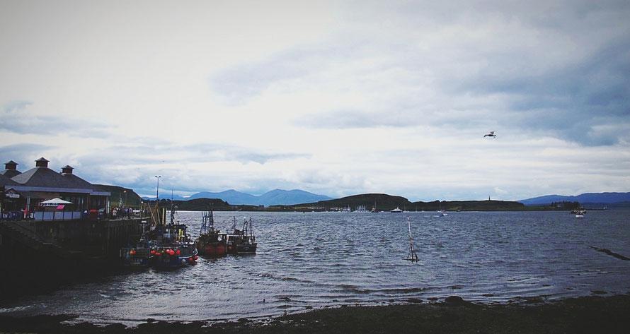 bigousteppes écosse oban port bateau mer