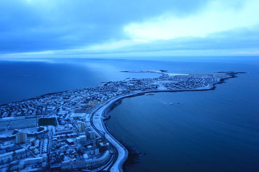 La péninsule de Seltjarnarnes, à l'extrémité ouest de Reykjavik