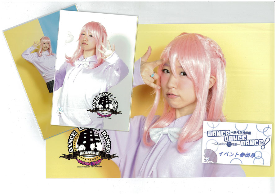 キャラクターブロマイドセット(はがきサイズ4枚1組 ¥1,000×7種類) キャラクターポートレート(六切りワイドサイズ ¥1,000×6種類) 物販を2,000円買うごとに出演者ひとりと握手&サインがしてもらえるイベント参加券が1枚