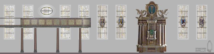 Entwurf, Abwicklung Nordseite und Chor