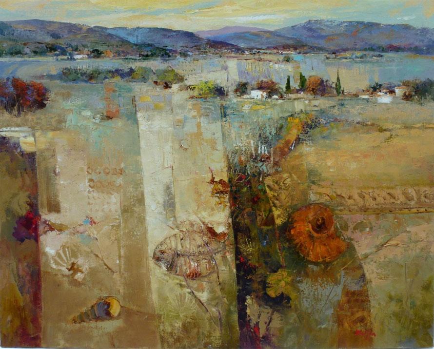 Mario Malfer 'landscape with nautilus', 80x100 cm