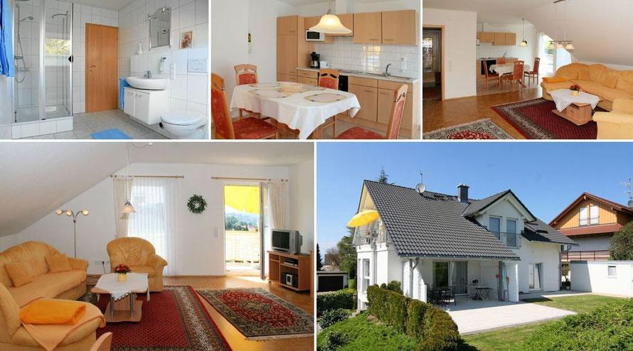 Ferienwohnung mit modernem Bad, Einbauküche, Wohnzimmer und Liegewiese im Garten