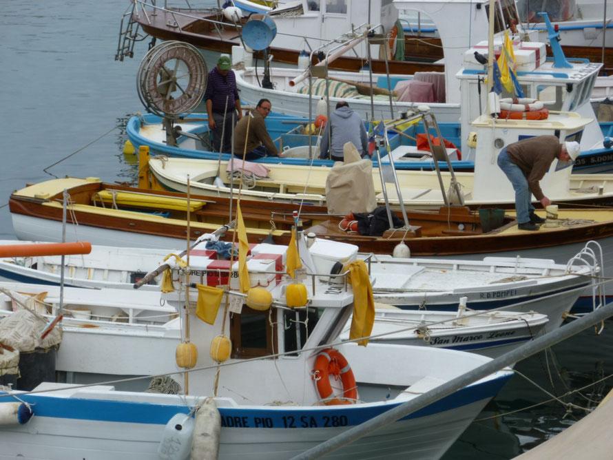 Zu tun gibt es immer irgend etwas auf den Fischerbooten. Der Hafen ist das Zentrum und Treffpunkt fuer Einheimische und Touristen.