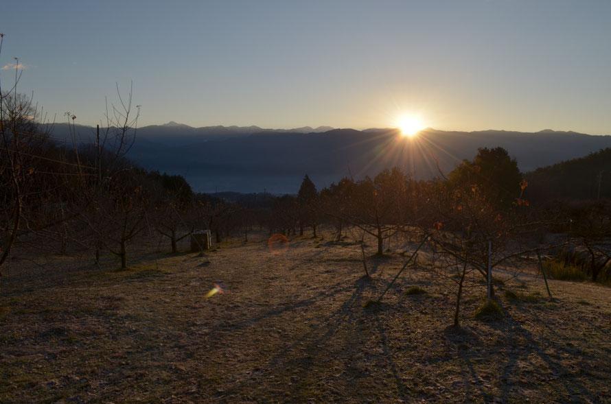 南アルプスから昇る初日の出