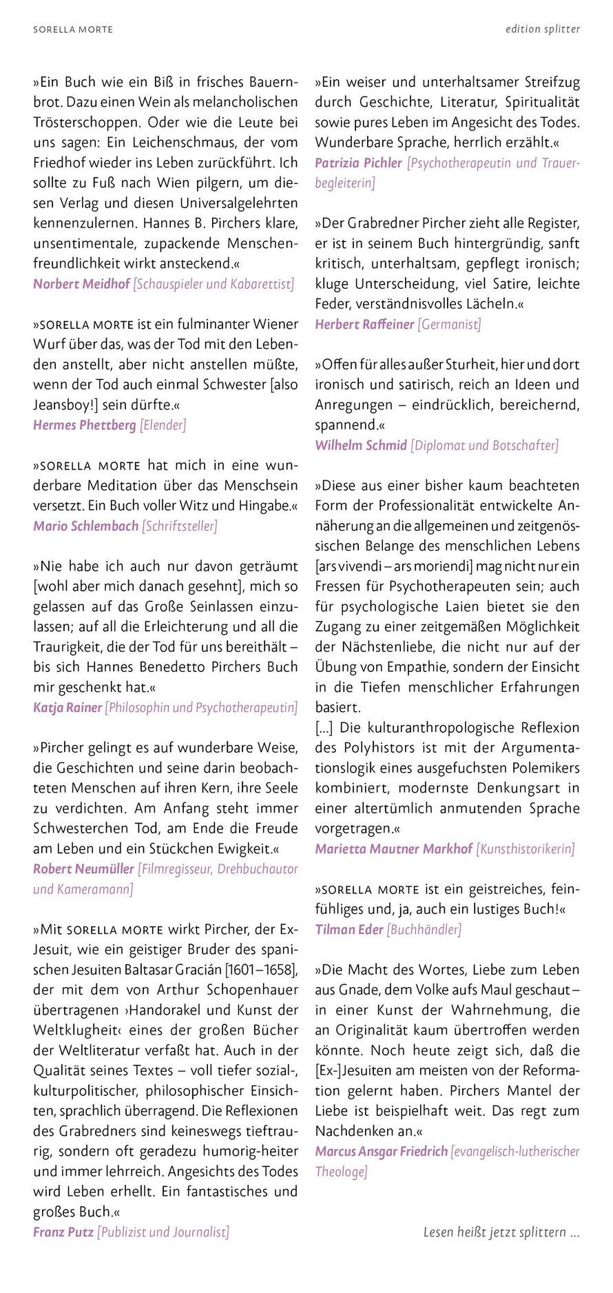 Simmen zum Buch – SORELLA MORTE – Hannes Benedetto Pircher
