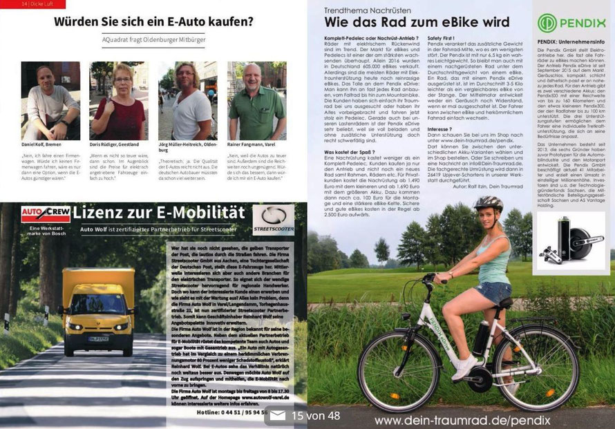 Bericht in der 2. Ausgabe des Oldenburger Stadtmagazin AQadrat Seite 15