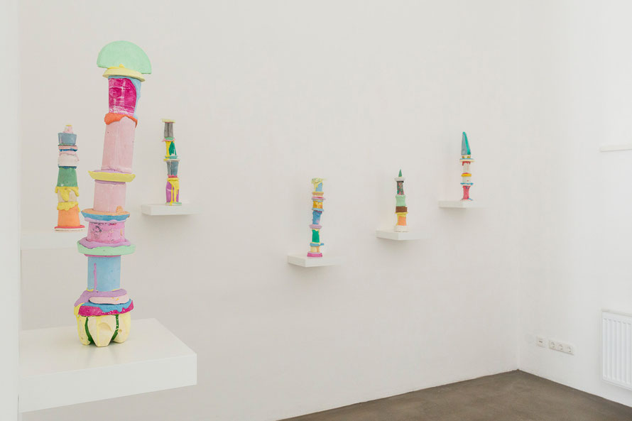 Hometotem series, 2014, pigmented plaster, dimension variable show view bei Bildraum 07, September 2014, Vienna Foto: Eva Kelety