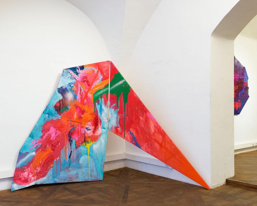 """N.T., 2013, mixed technic on canvas, 310x200cm ca., show view bei """"Im Ersten"""", April  2014, Vienna"""