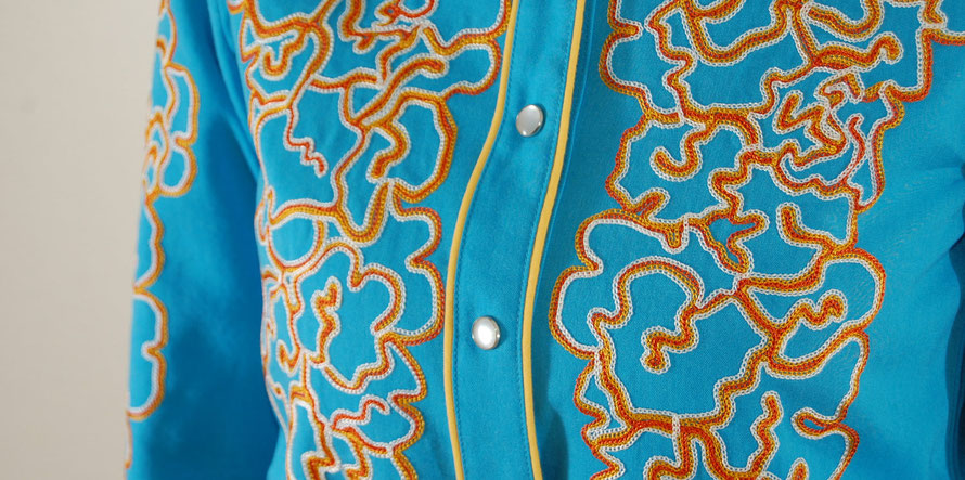 Embroidered western shirt blue yellow piping