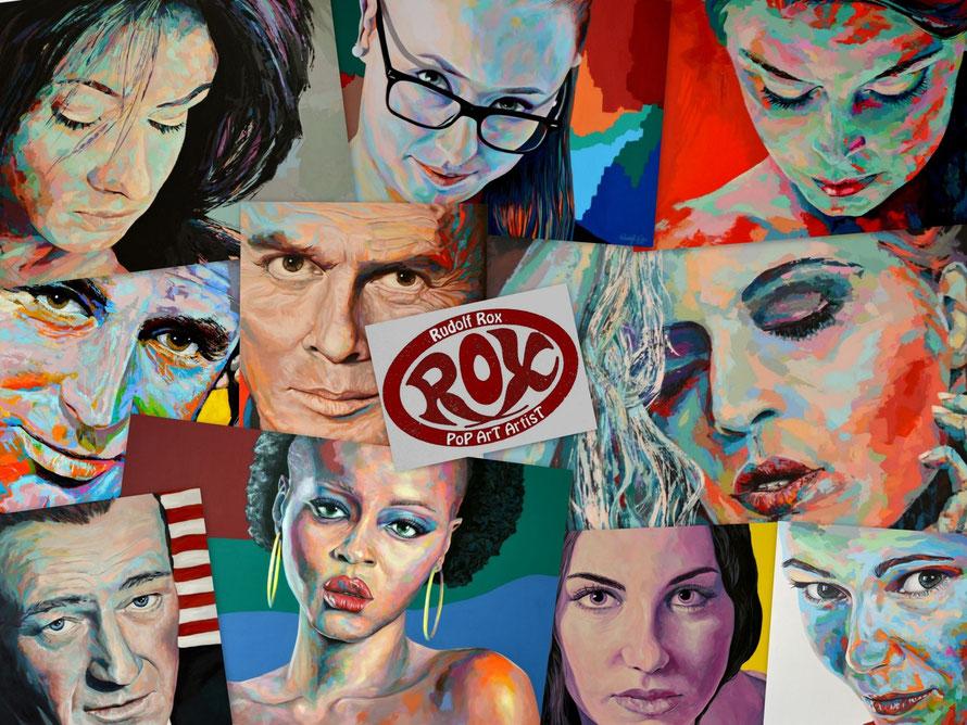 Collage einiger Acrylgemälde des deutschen Pop-Art Künstlers Rudolf Rox.