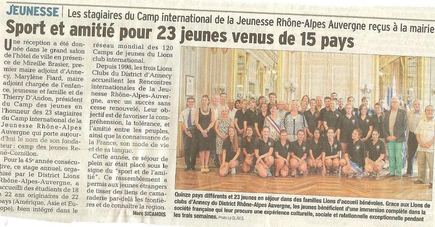 """Article du DAUPHINE LIBERE du 26 juillet 2015 - Action """"Camps des Jeunes 2015"""""""