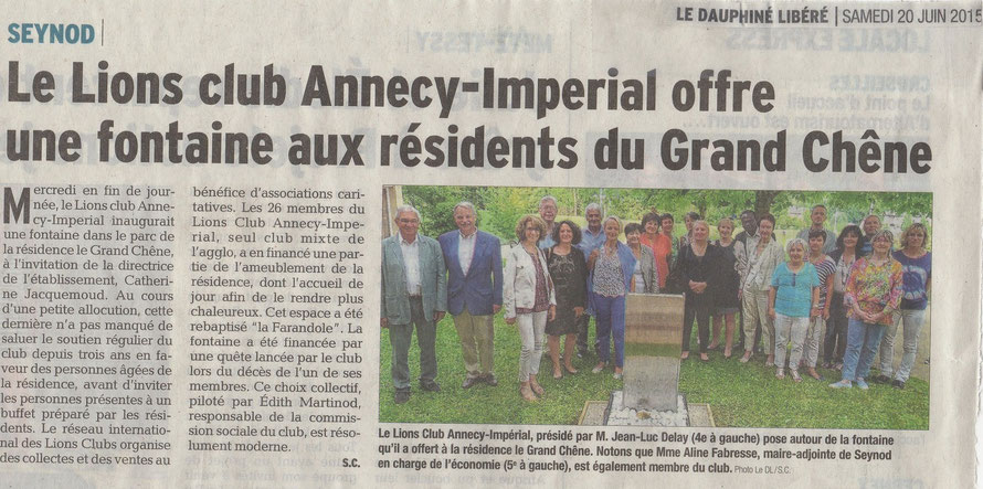 Article du DAUPHINE LIBERE du 20 juin 2015 - Association du Grand Chêne