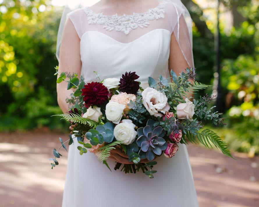 Unique Merlot and Neutral Toned Autumn Wedding Bouquet with Succulent