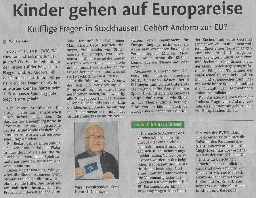 """Bericht über den Spieletag """"Europa"""" am 6. Oktober 2018 (Lübbecker Kreiszeitung (Westfalen-Blatt), Lokalteil Lübbecke, 09.10.2018)"""