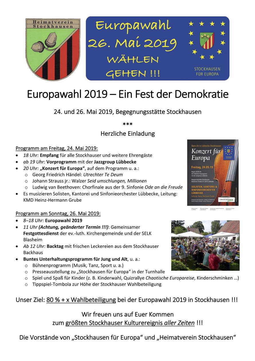 Geplanter Programmablauf des Stockhauser Europafest-Wochenendes am 24. und 26. Mai 2019 (© Stockhausen für Europa)