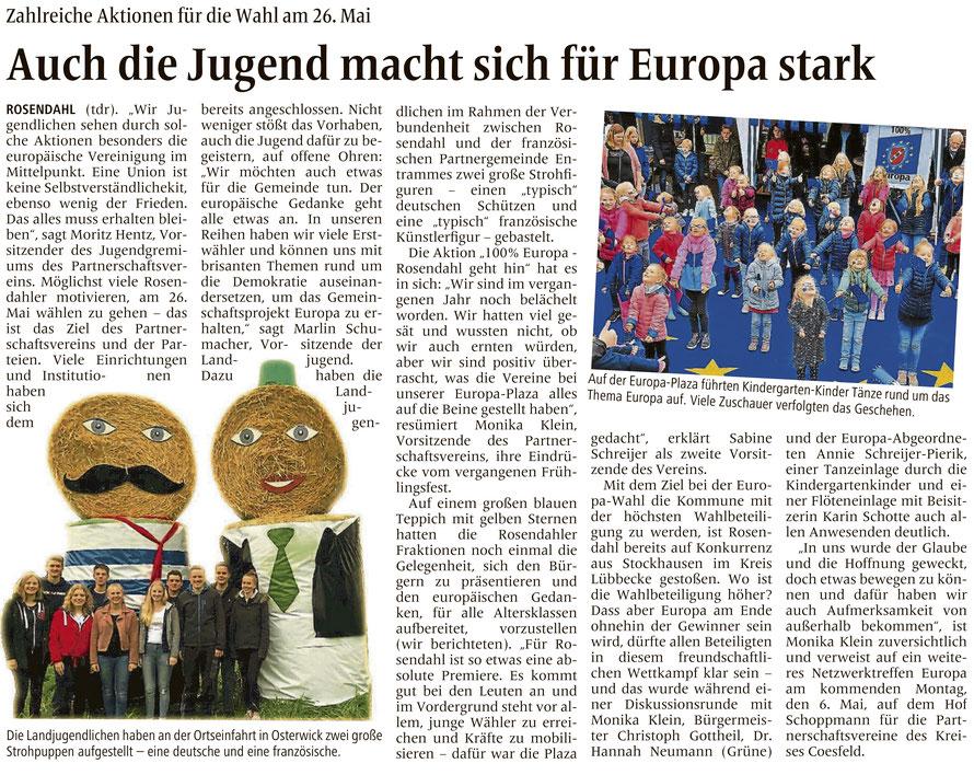 Bericht über die Rosendahler Europa-Aktionen (unserer 'Konkurrenz' in Sachen Europawahlbeteiligung) (Allgemeine Zeitung (= Billerbecker Anzeiger / Gescherer Zeitung), Lokalteil Rosendahl, 01.05.2019)