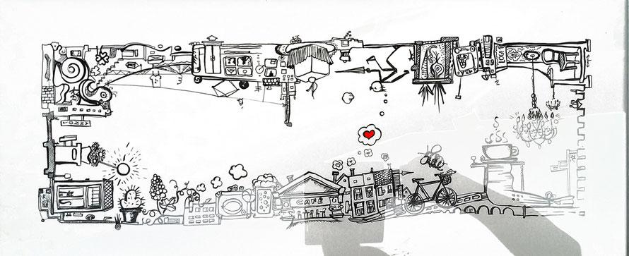 infinite city mit details aus der josefstadt entstanden für das josefstädter strassenfest / privatbesitz