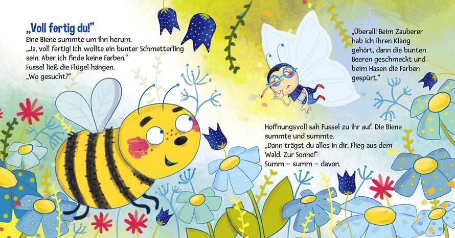 """Seite aus dem Bilderbuch """"Fussels Farben"""""""