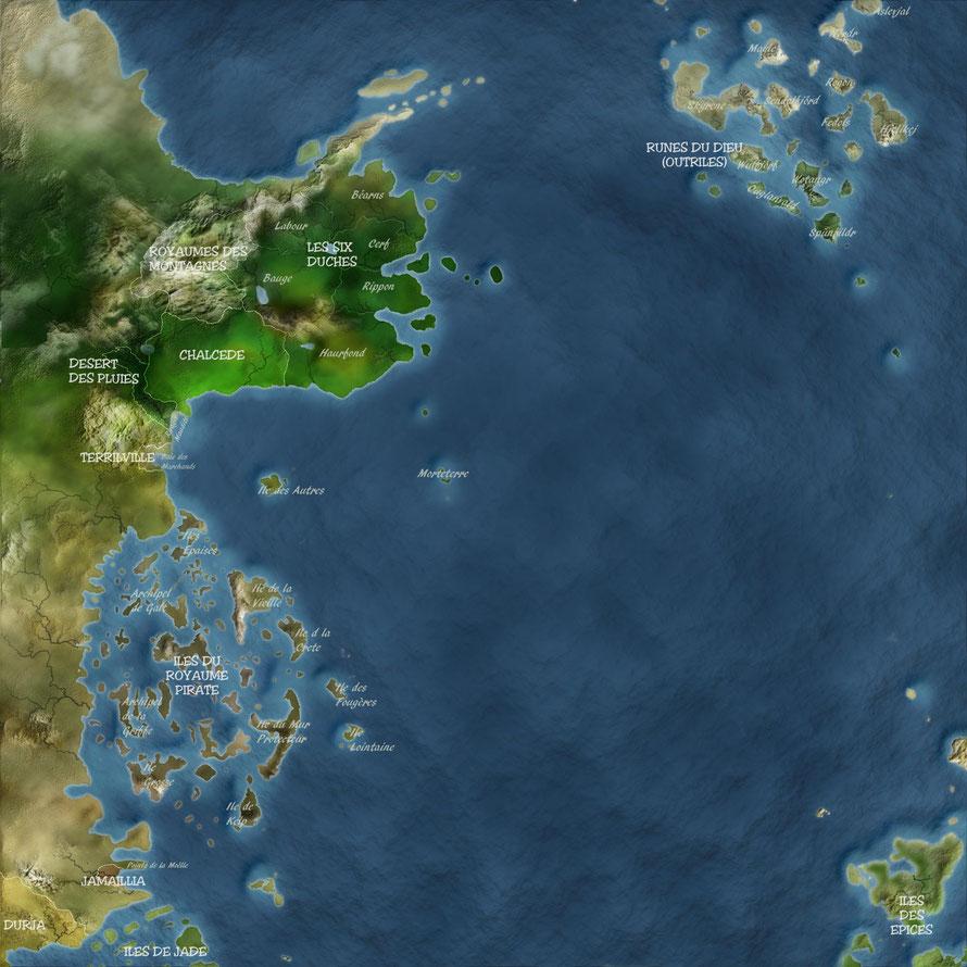 Enfin une carte en français de l'univers de Robin Hobb très bien réalisée, avec toutefois quelques erreurs : les Îles des Épices à la place de Clerres, l'île des Autres au nord au lieu d'être au sud. La source https://chroniques-sixduches.forumactif.com/