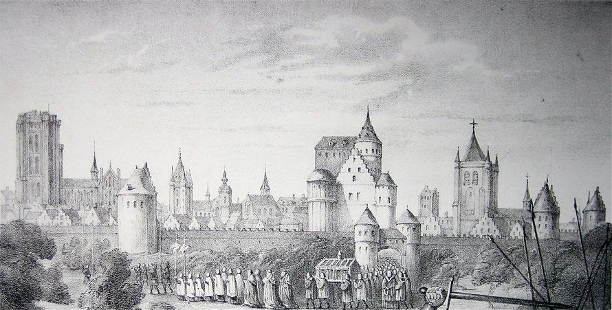 Een processie voor de stadsmuren van Mechelen. Sint-Romboutstoren is noch in bouw.