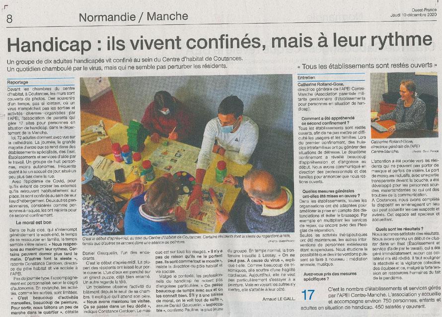 Ouest-France du jeudi 10 Décembre 2020