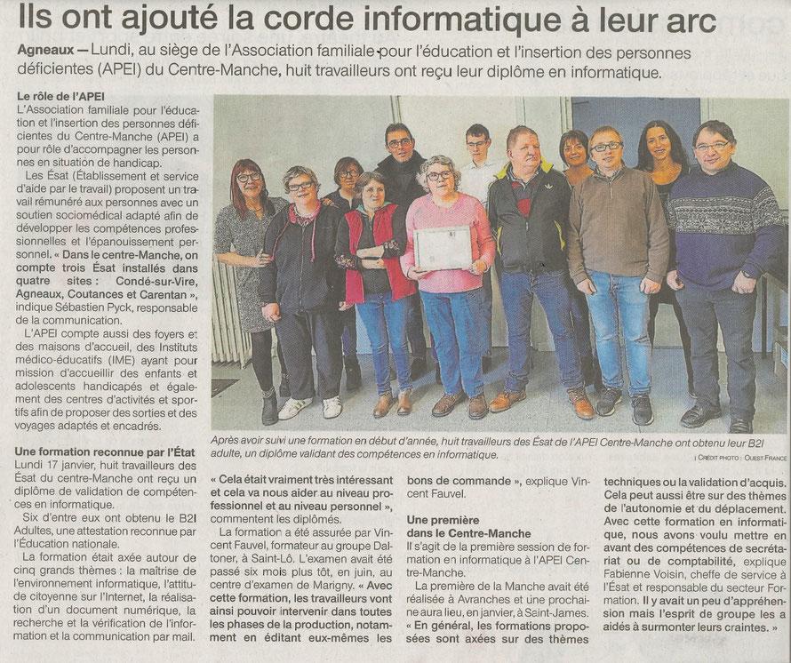 Article de Ouest France du mercredi 19 décembre 2018