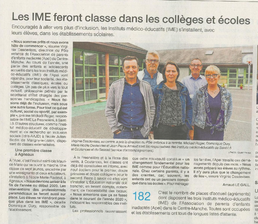 Article Ouest-France du 11 septembre 2019