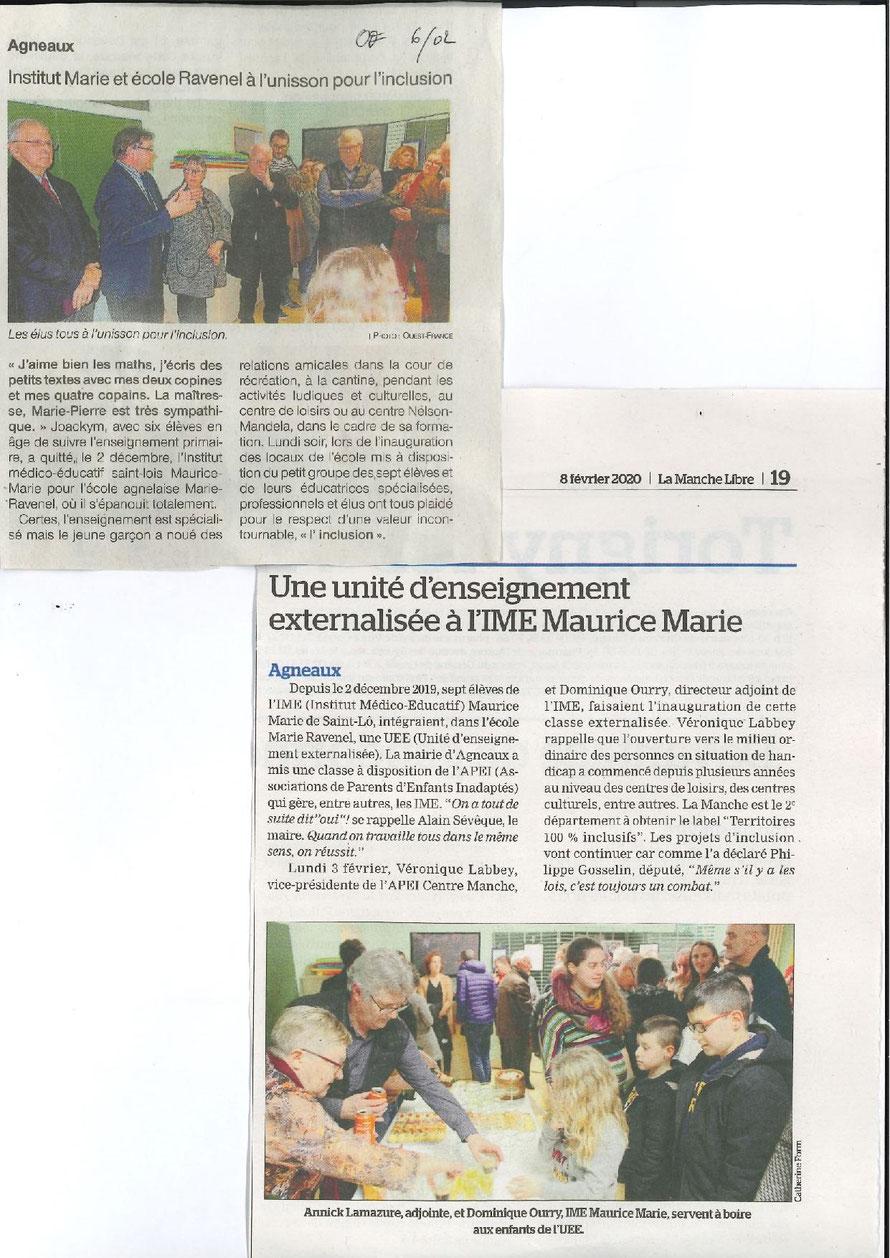 Article Ouest France du jeudi 06 février 2020 / Manche Libre du vendredi 07 février 2020